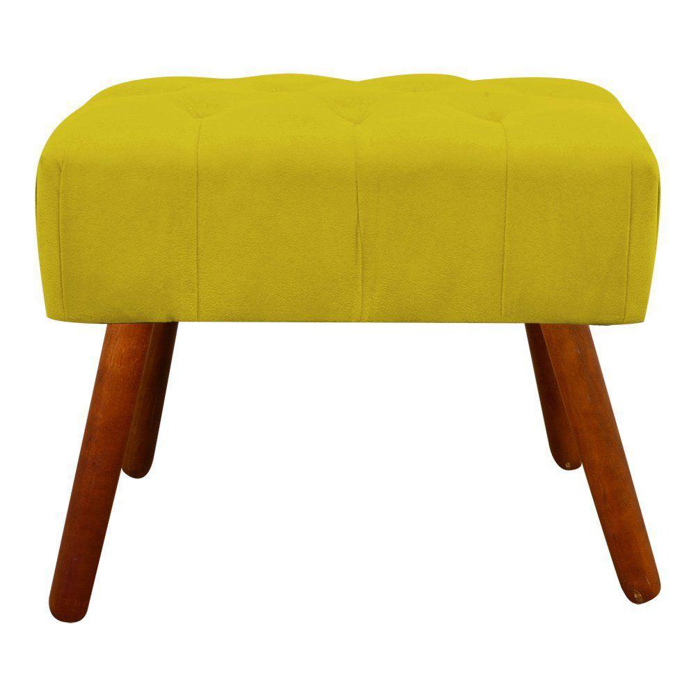 Puff Decorativo Anne Capitonê Suede Amarelo Pés Palito Castanho D'Rossi