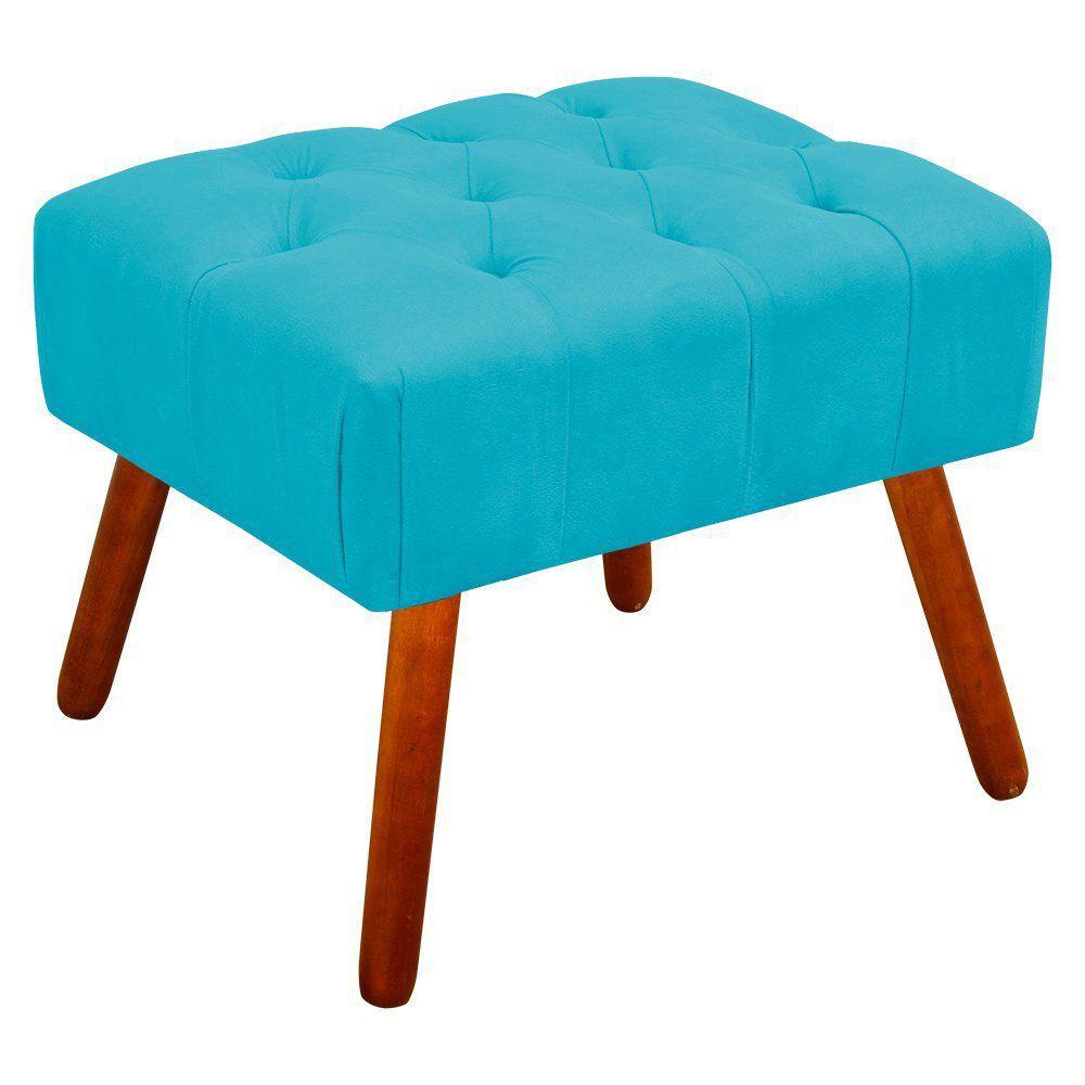 Puff Decorativo Anne Capitonê Suede Azul Turquesa Pés Palito Castanho D'Rossi