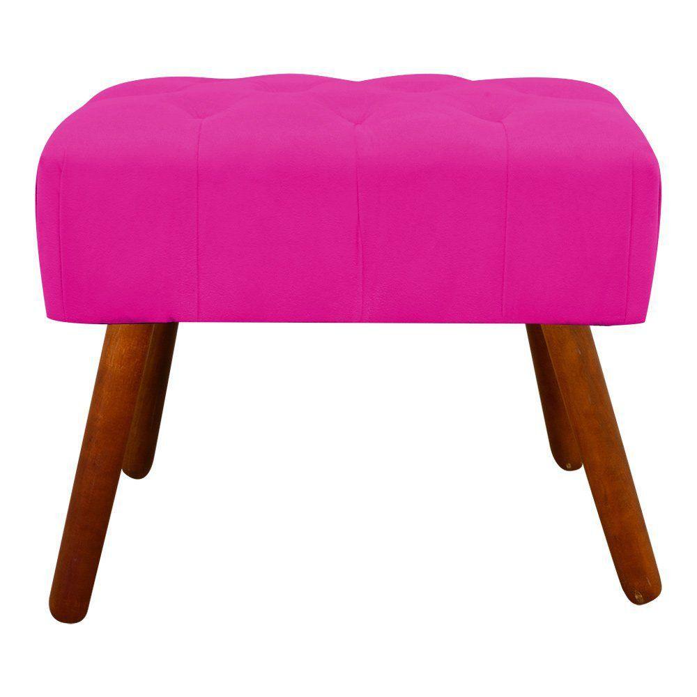 Puff Decorativo Anne Capitonê Suede Pink Pés Palito Castanho D'Rossi