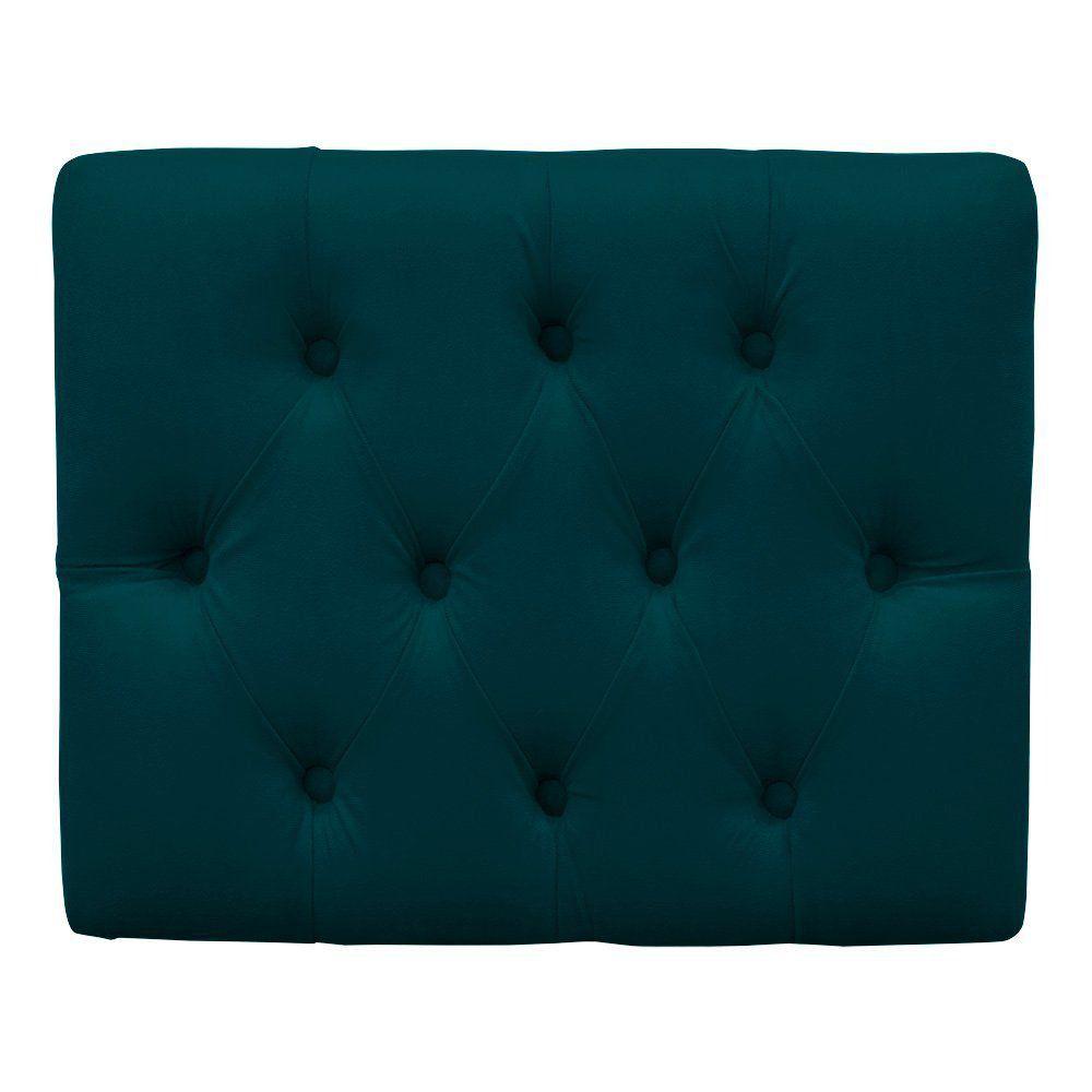 Puff Decorativo Anne Capitonê Suede Azul Pavão Pés Palito - D'Rossi