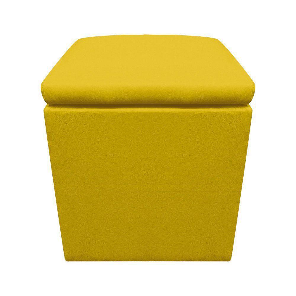 Puff Baú Dani Quadrado Corino Amarelo D'Rossi