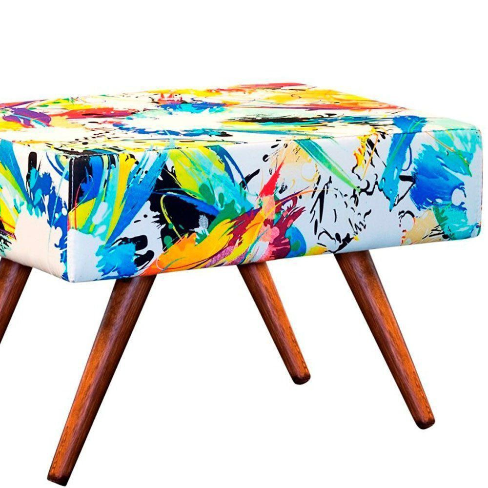Puff Decorativo Charme Retangular Estampado Color D18 - D'Rossi