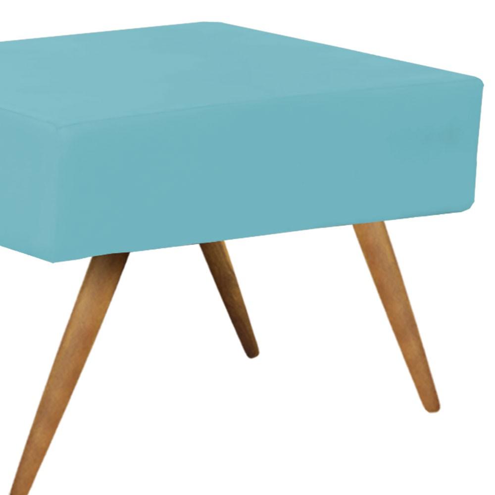 Puff Decorativo Charme Retangular Suede Azul Turquesa - D'Rossi