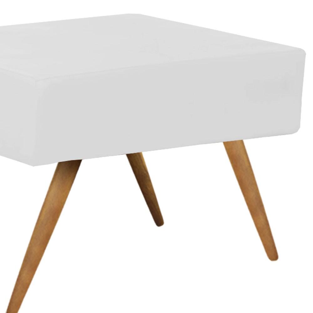Puff Decorativo Charme Retangular Suede Branco - D'Rossi