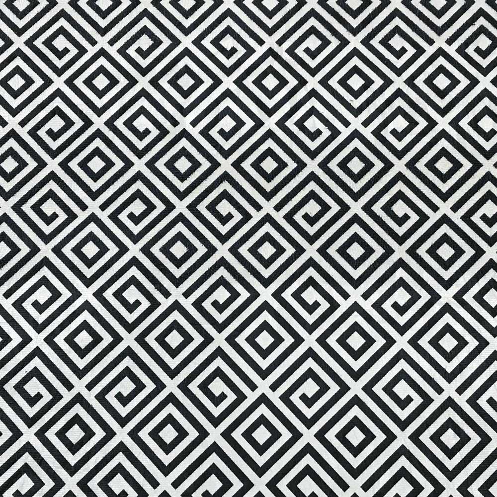 Puff Decorativo Curvo Agatha Estampado Quadrado Preto D64 - D'Rossi