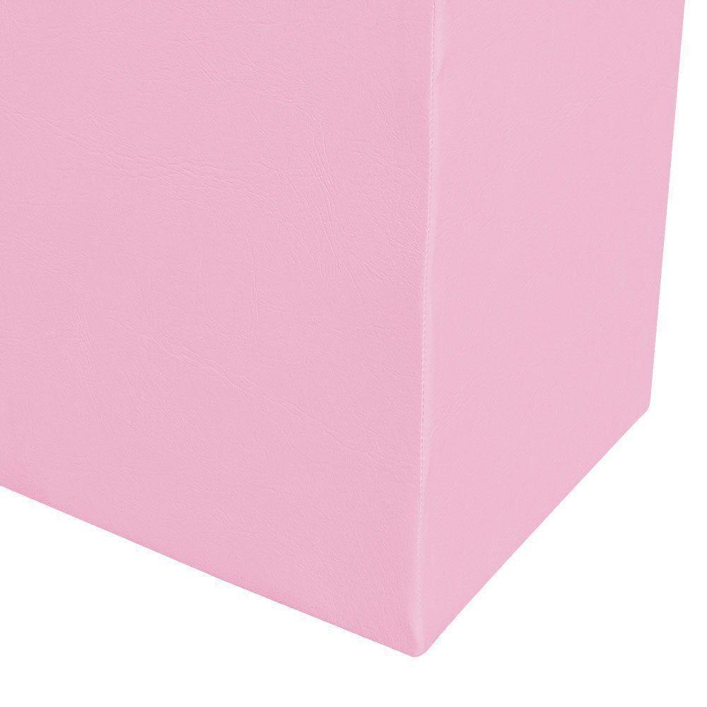Puff Decorativo Dado Quadrado Corino Rosa Bebê - D'Rossi