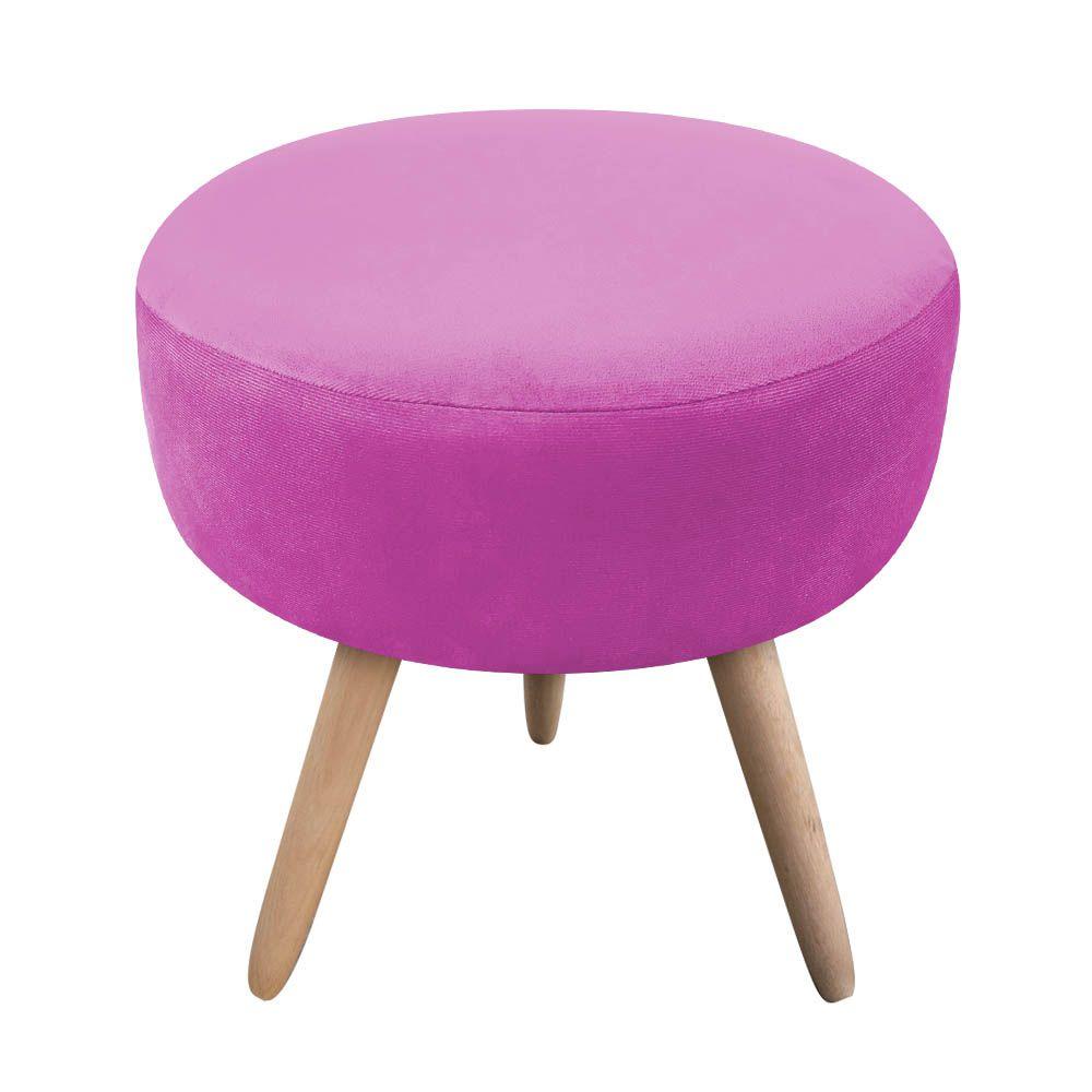Puff Decorativo Dri Redondo Suede Pink Pés Natural - D'Rossi