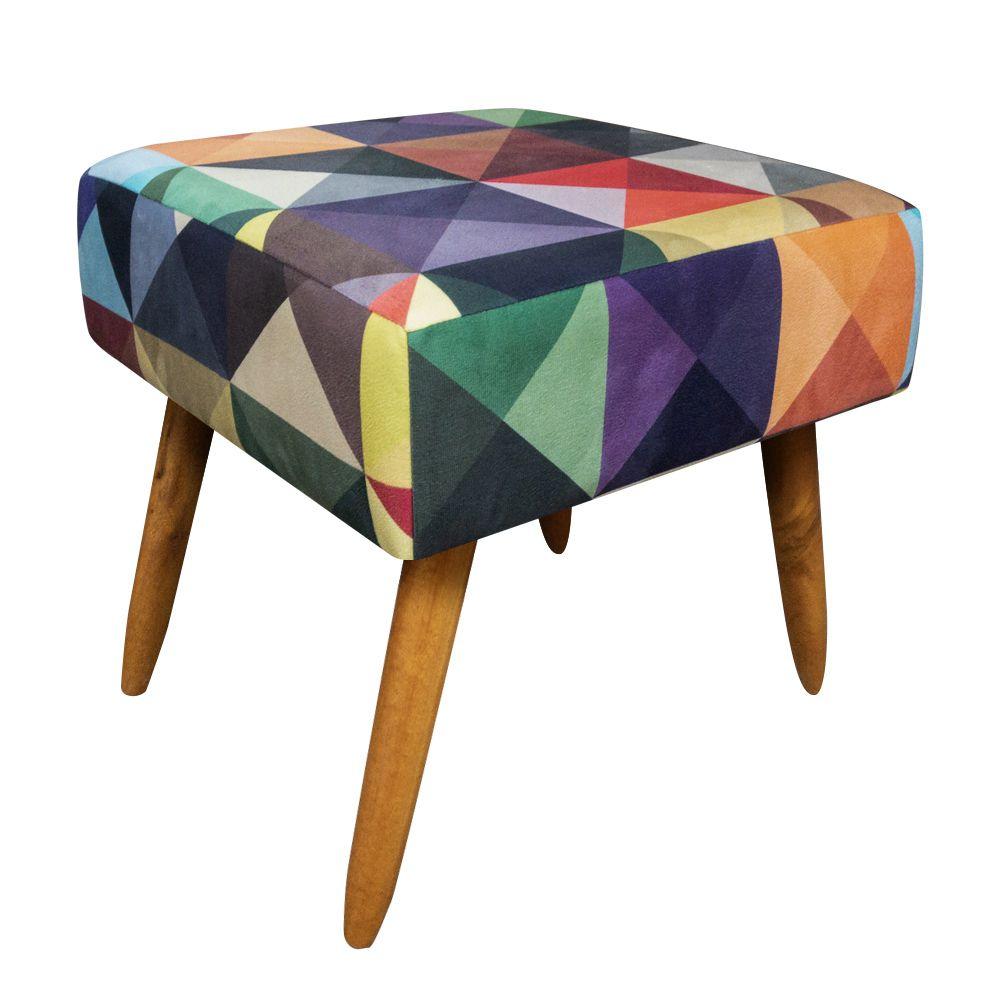 Puff Decorativo Ibiza Quadrado Estampado Triângulo Pés Palito Castanho D'Rossi