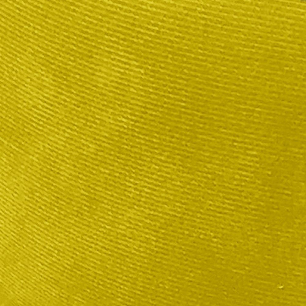 Puff Decorativo Josy Suede Amarelo Pés Palito Castanho D'Rossi