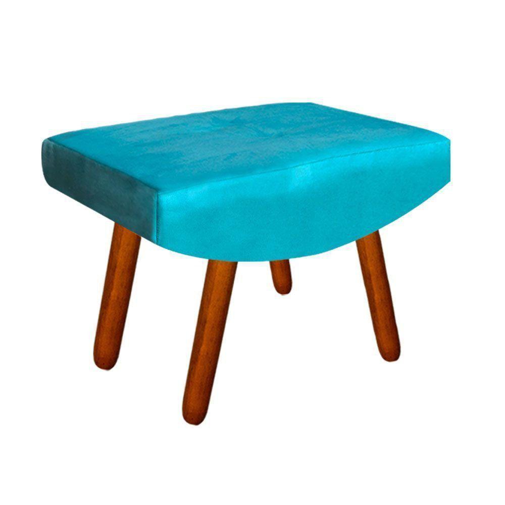 Puff Decorativo Josy Suede Azul Turquesa Pés Palito Castanho D'Rossi