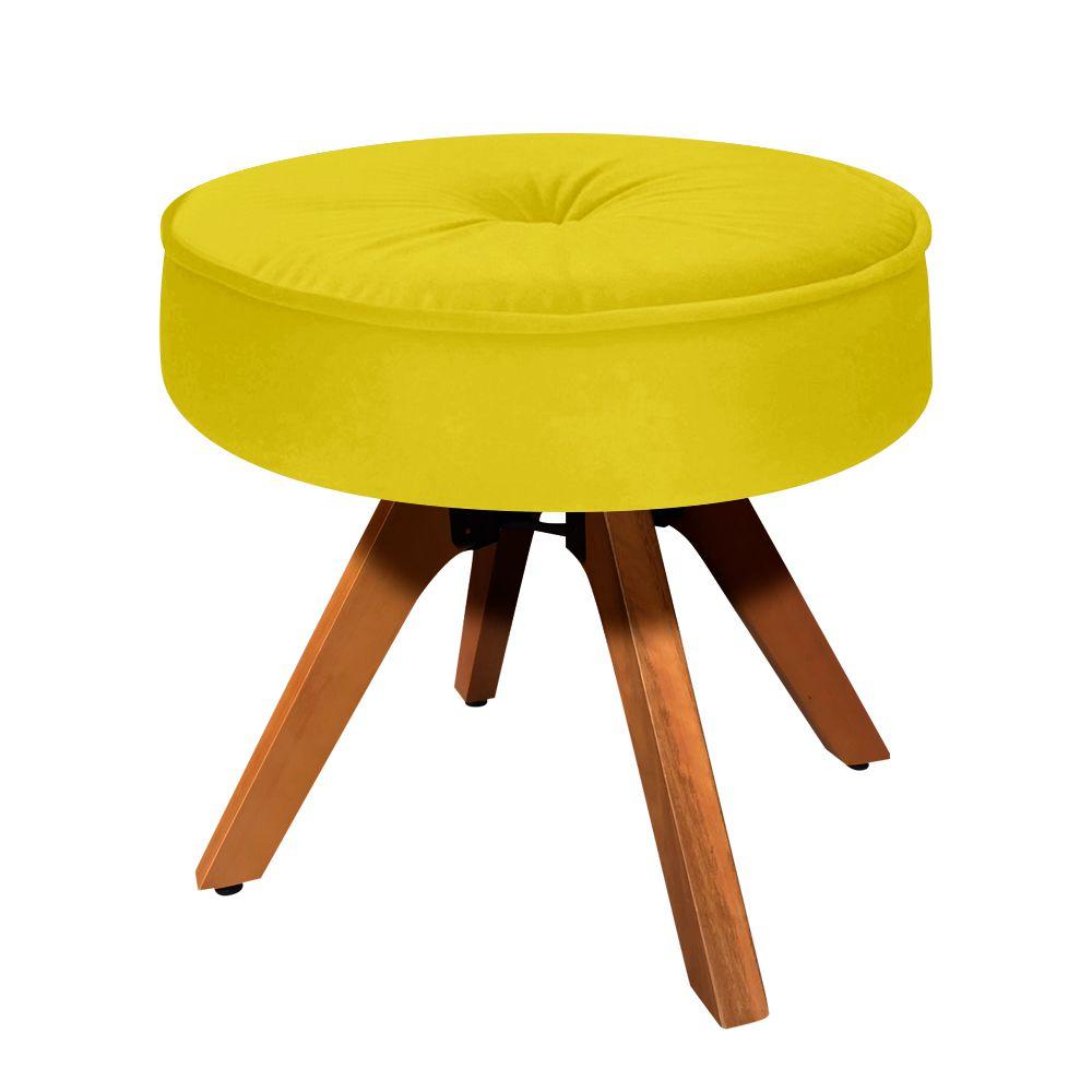Puff Decorativo Julia Redondo Suede Amarelo Base Madeira MM35 - D'Rossi