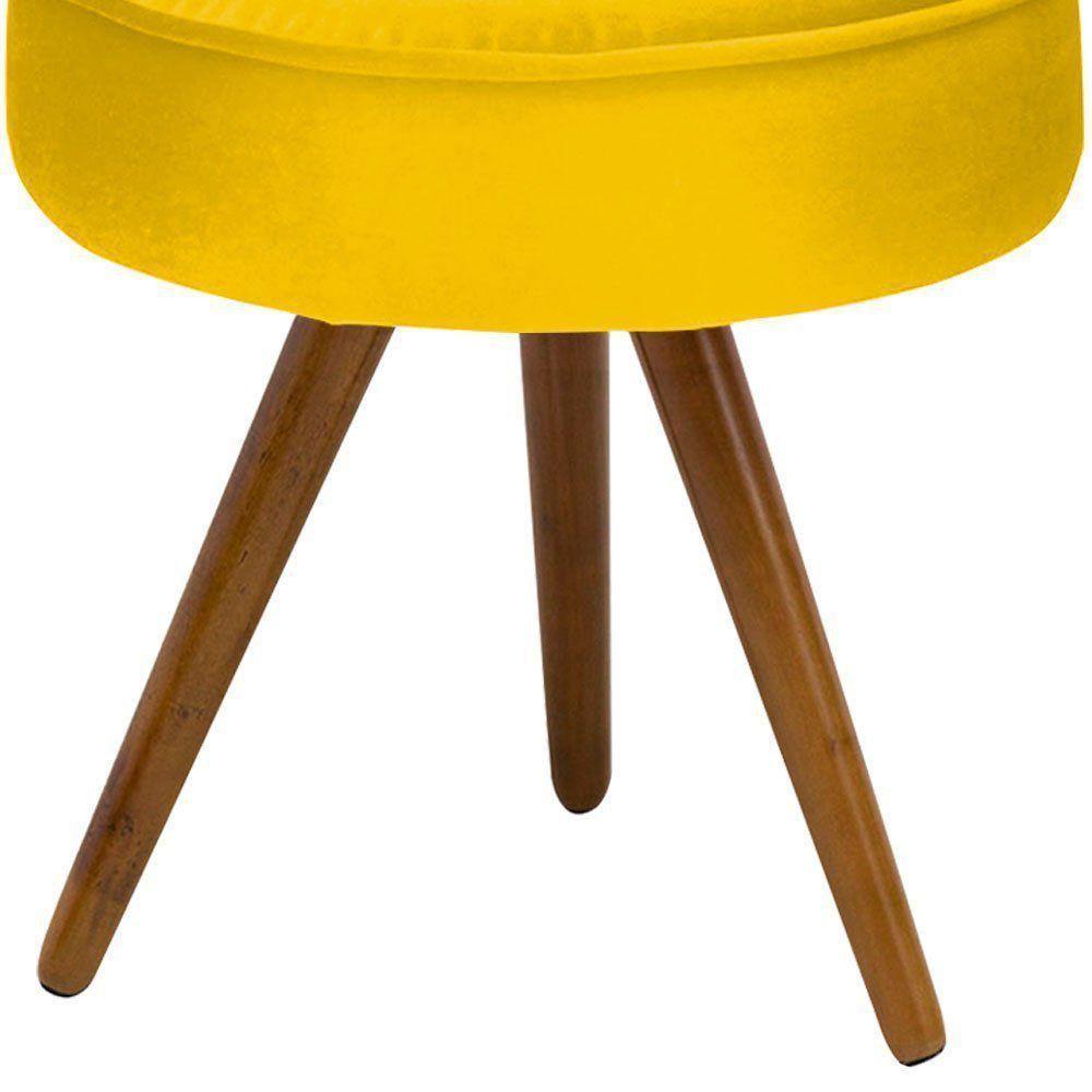 Puff Decorativo Julia Redondo Suede Amarelo - D'Rossi