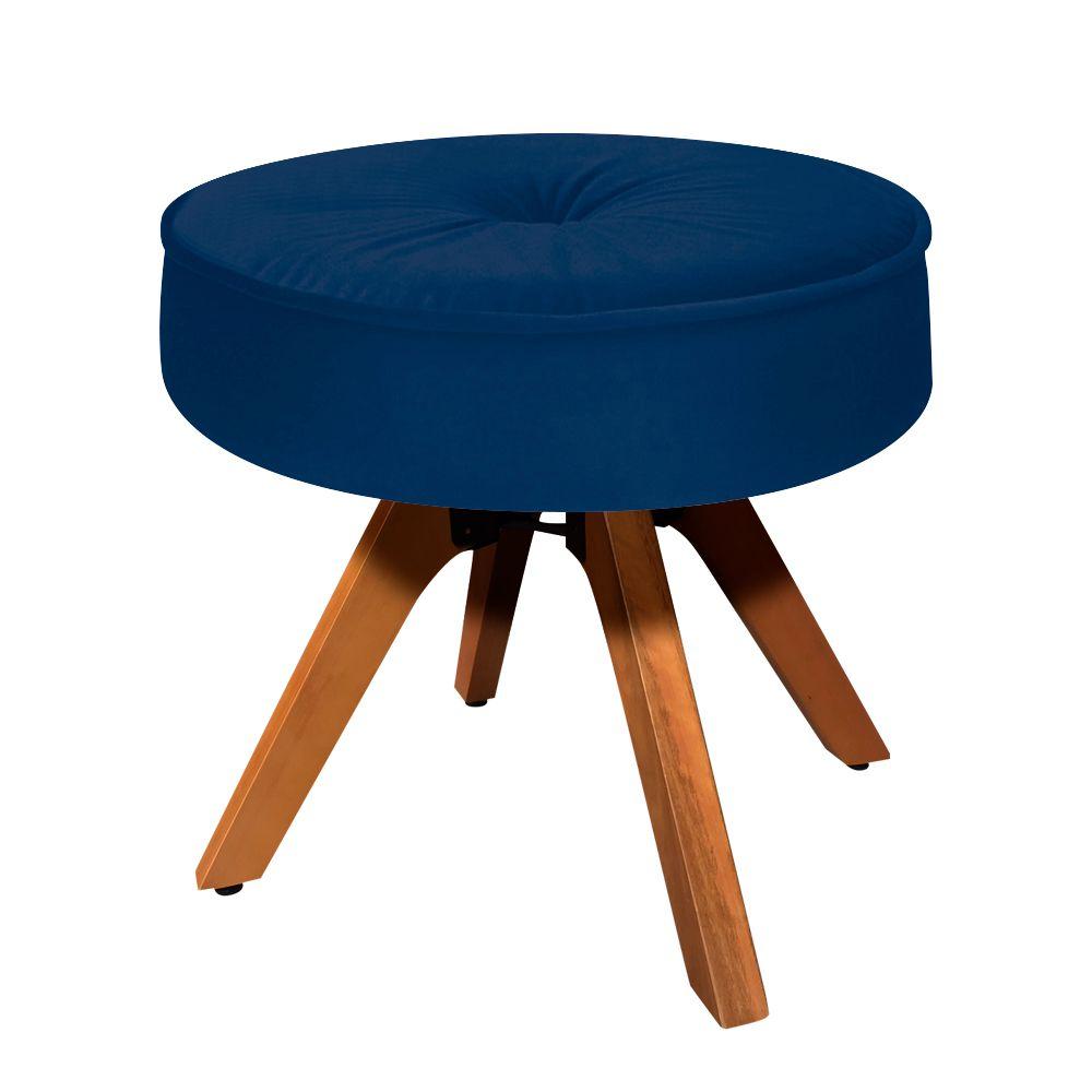 Puff Decorativo Julia Redondo Suede Azul Marinho com Base Giratória de Madeira - D'Rossi