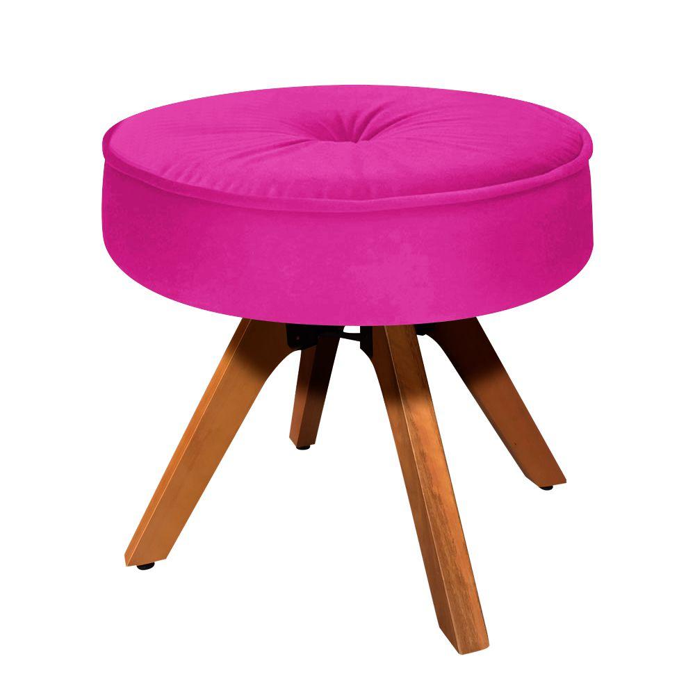 Puff Decorativo Julia Redondo Suede Pink Base Madeira MM35 - D'Rossi