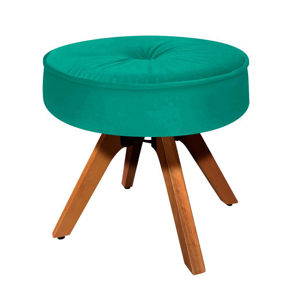 Puff Decorativo Julia Redondo Suede Verde Turquesa com Base Giratória de Madeira - D'Rossi