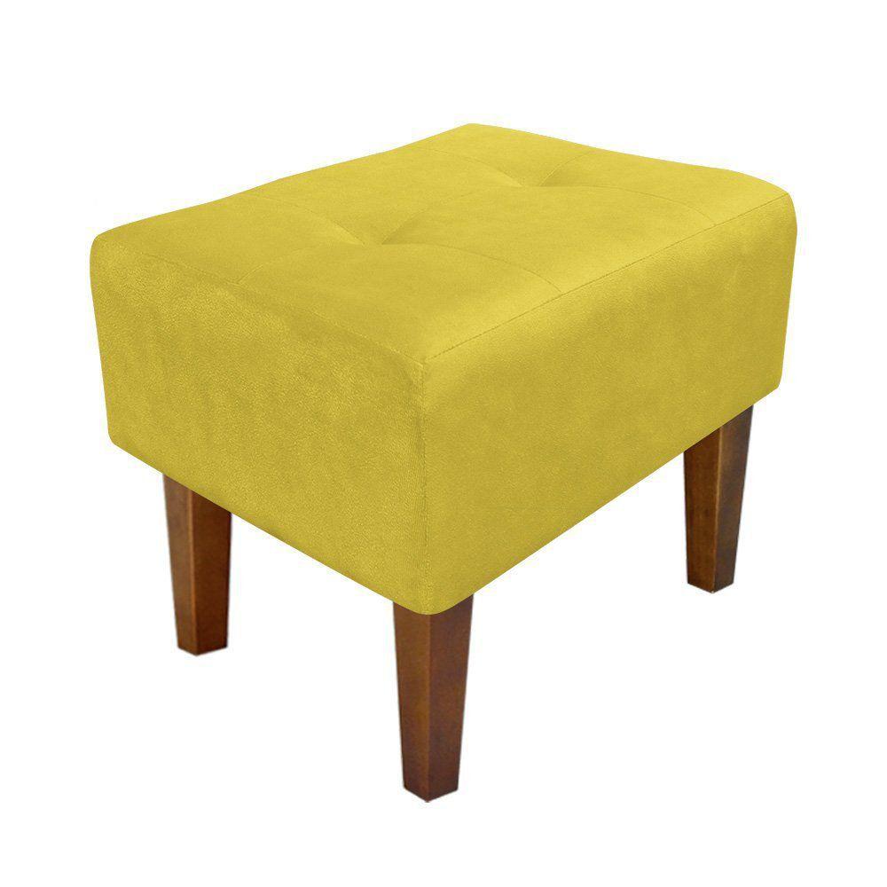 Puff Decorativo Livia Pés Chanfrado Suede Amarelo - D'Rossi