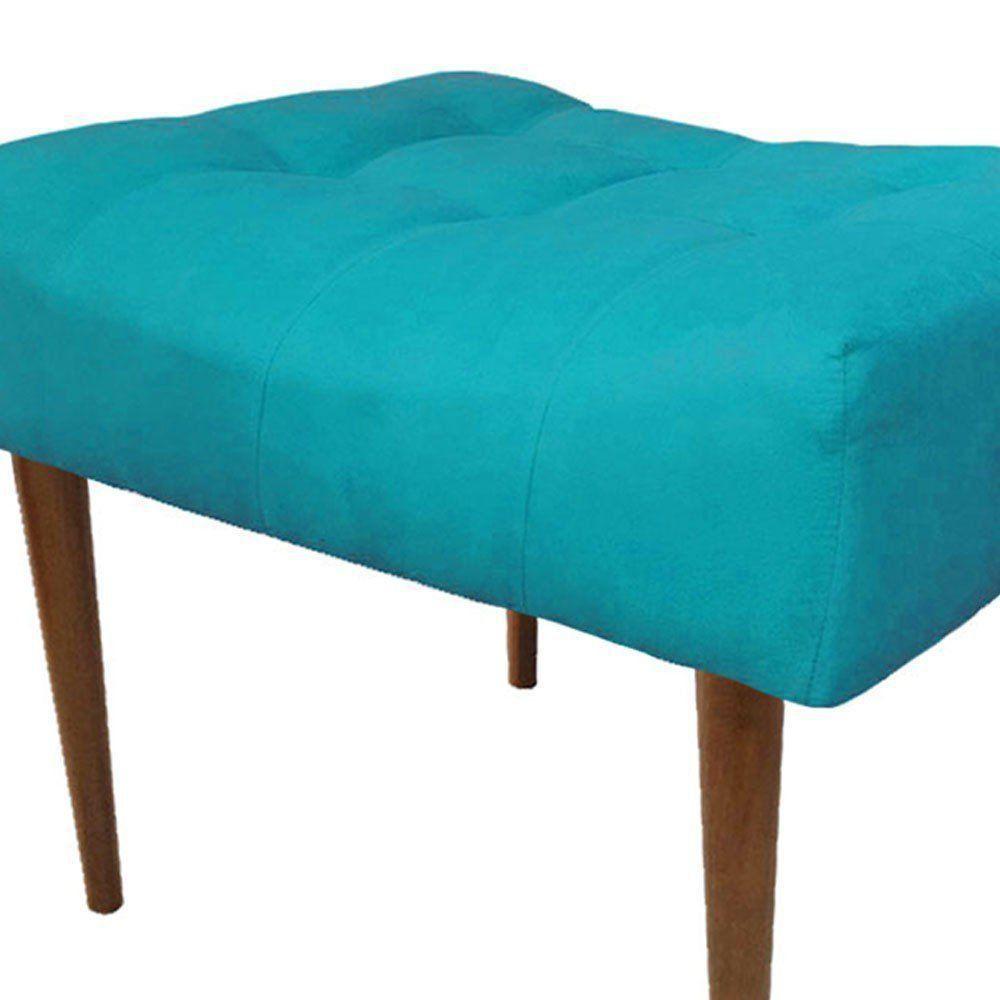 Puff Decorativo Requinte Capitonê Suede Azul Turquesa - D'Rossi