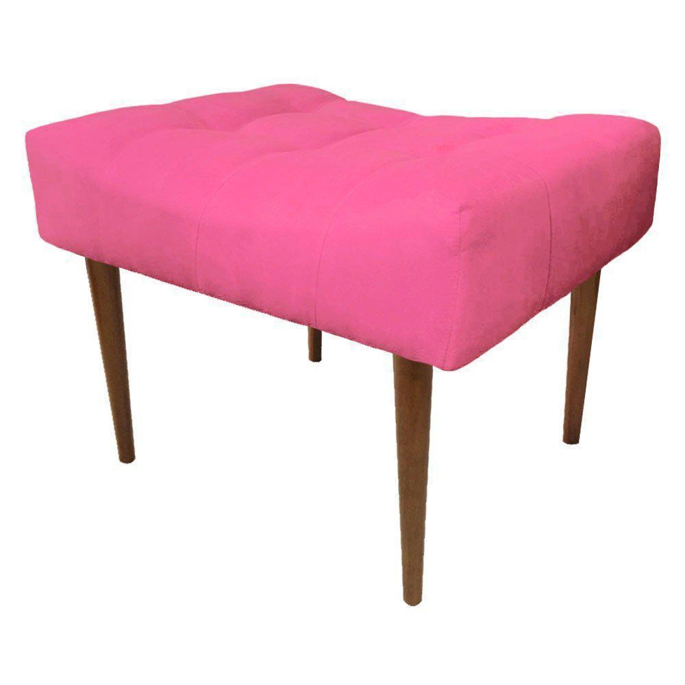 Puff Decorativo Requinte Capitonê Suede Rosa Barbie - D'Rossi