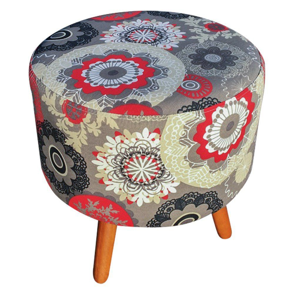 Puff Dora Redondo Estampado Floral Mandala Vermelho D32 - D'Rossi