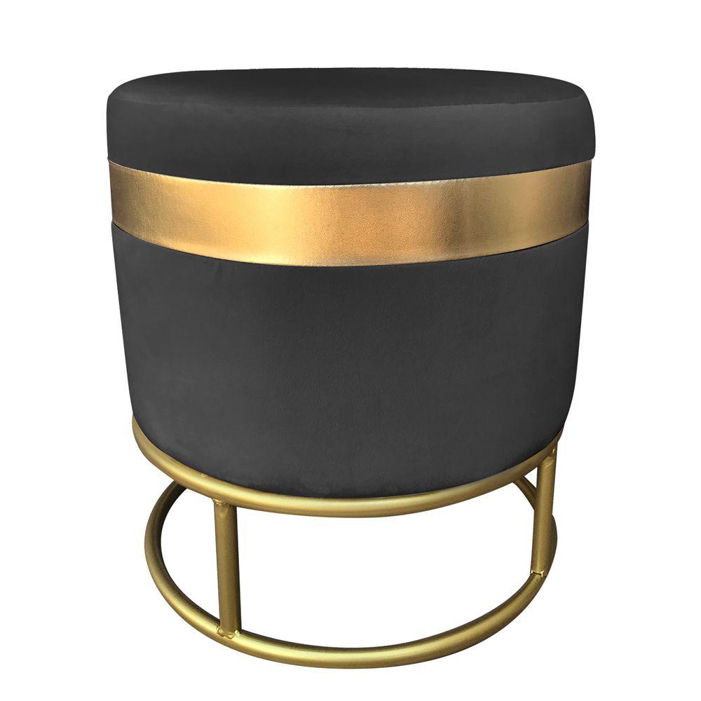Puff Luxo Veludo Preto Base Dourada - D'Rossi