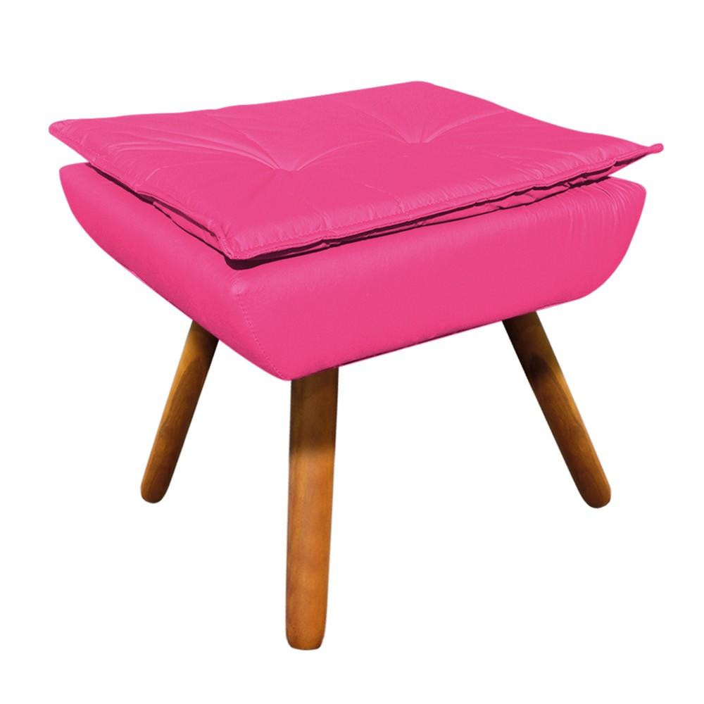 Puff Opala Corino Pink Pés Palito Castanho - D'Rossi