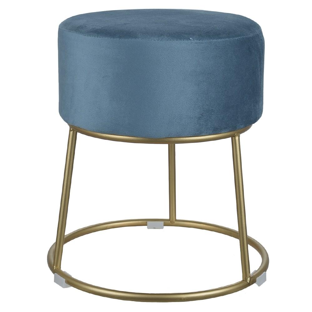 Puff Decorativo Veludo Azul Com Metal Dourado - D'Rossi