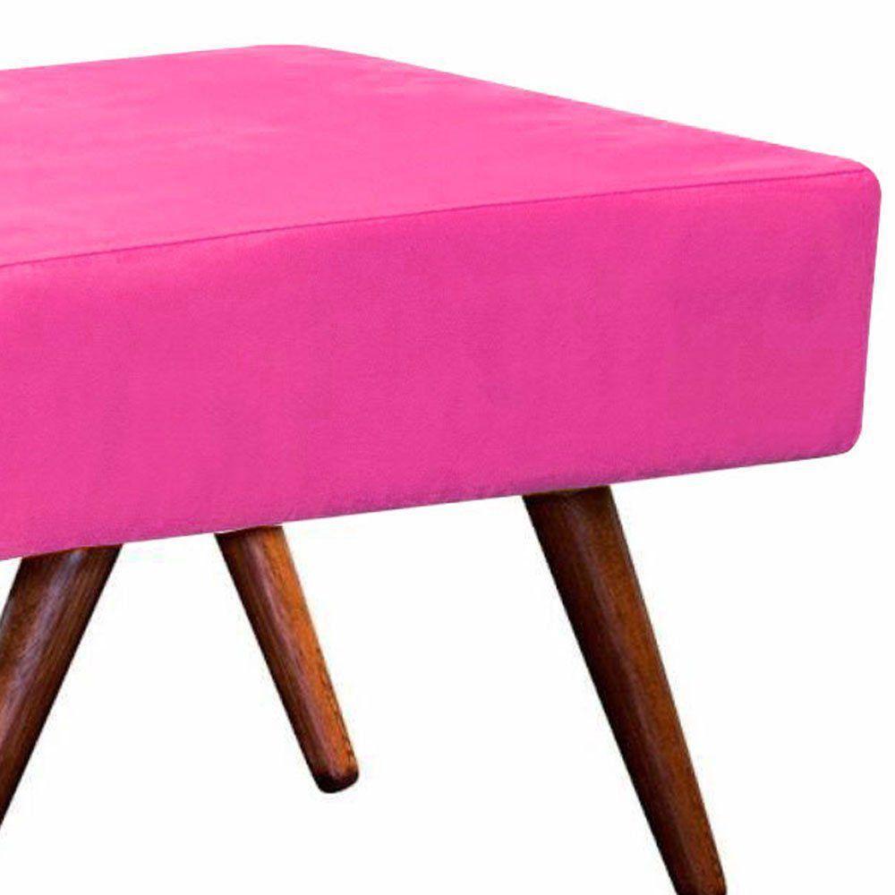 Puff Decorativo Charme Retangular Suede Rosa Barbie - D'Rossi