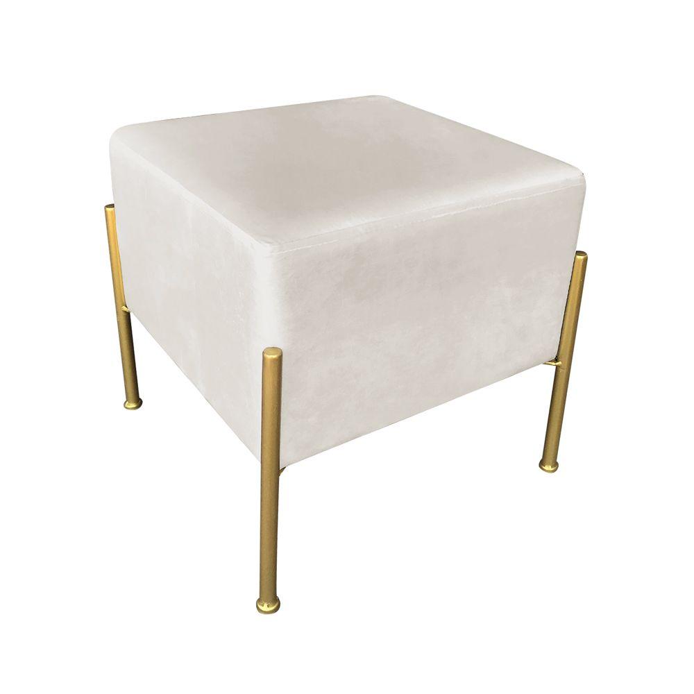 Puff Square Veludo Bege Base Dourada - D'Rossi