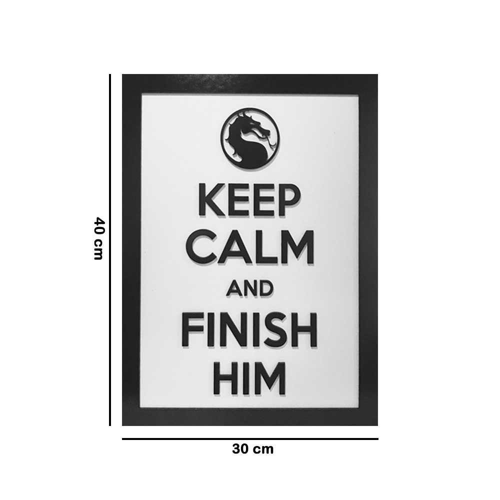 Quadro Decorativo ''Finish Him'' 40x30 com Base - D'Rossi
