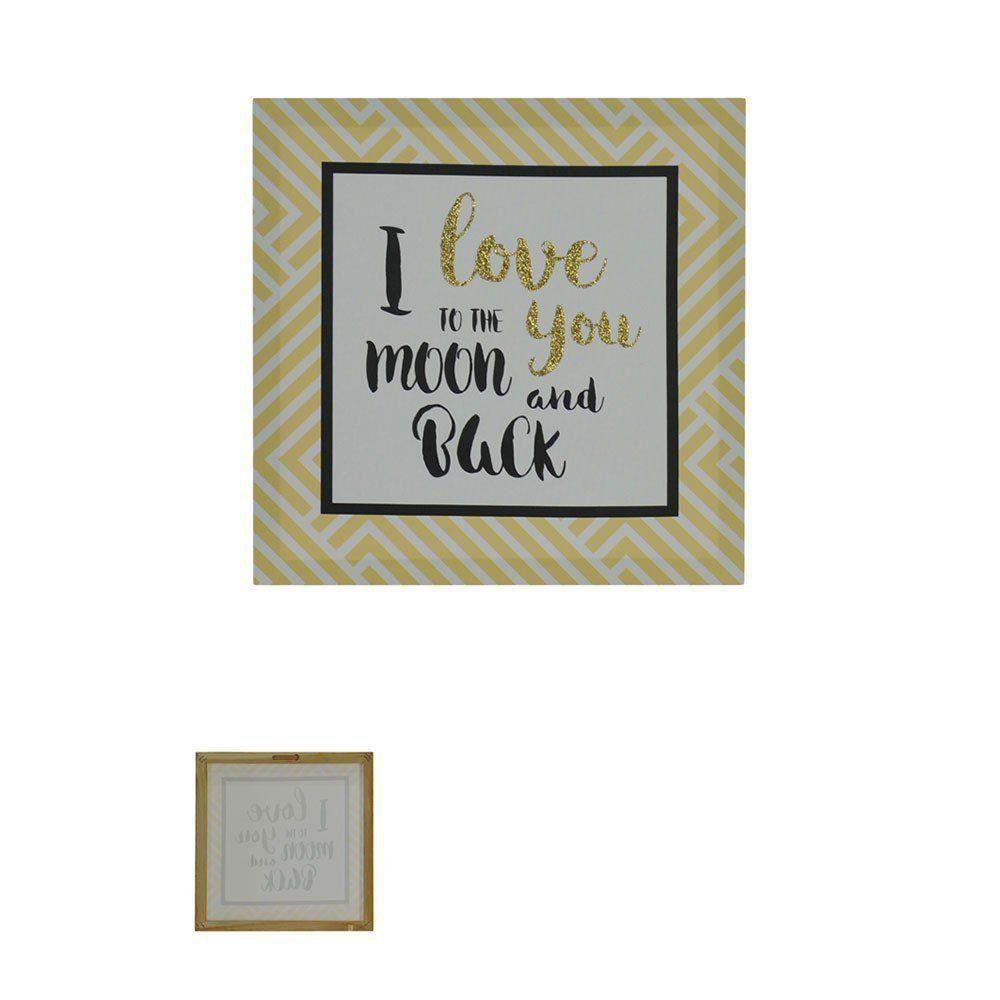 Quadro Decorativo Love com Glitter 28x28cm Amarelo - D'Rossi