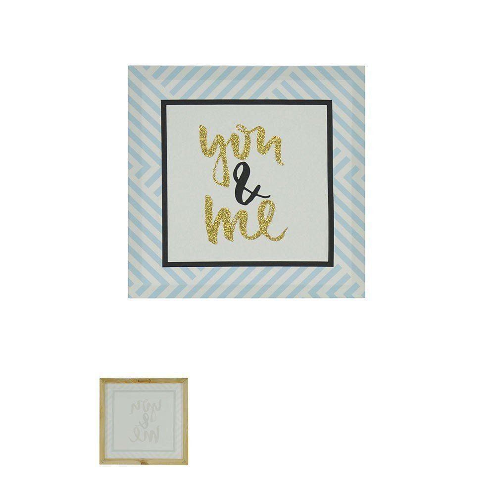 Quadro Decorativo Love com Glitter 28x28cm Azul - D'Rossi