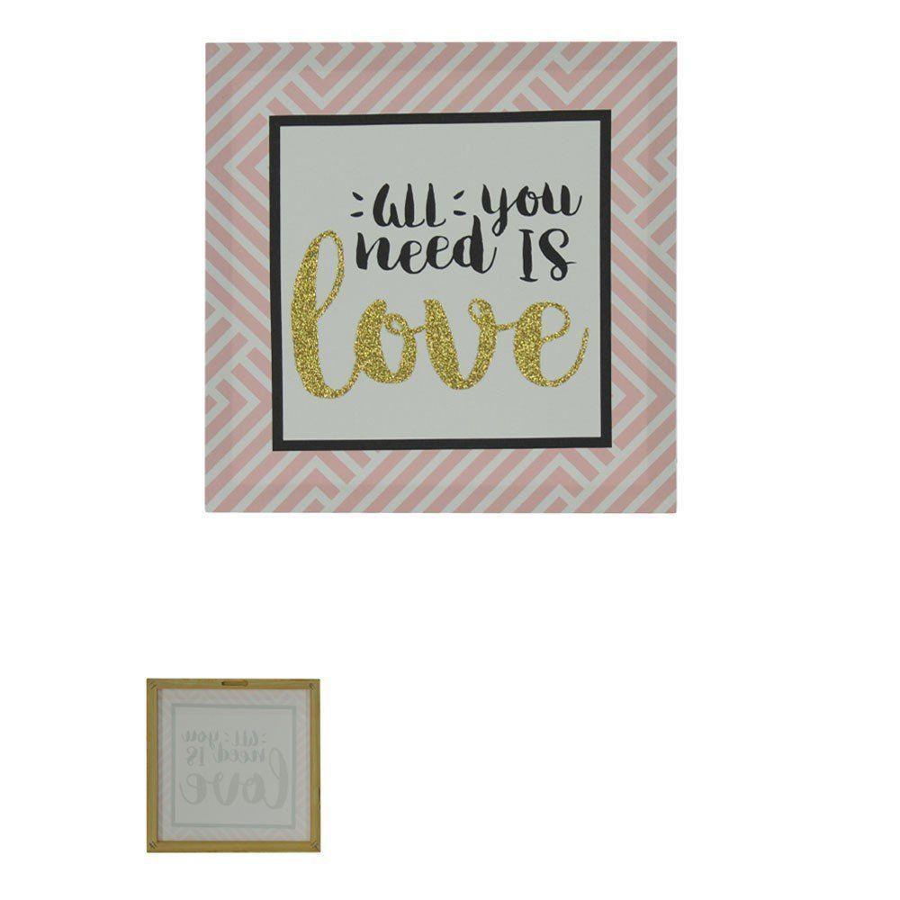 Quadro Decorativo Love com Glitter 28x28cm Rosa - D'Rossi