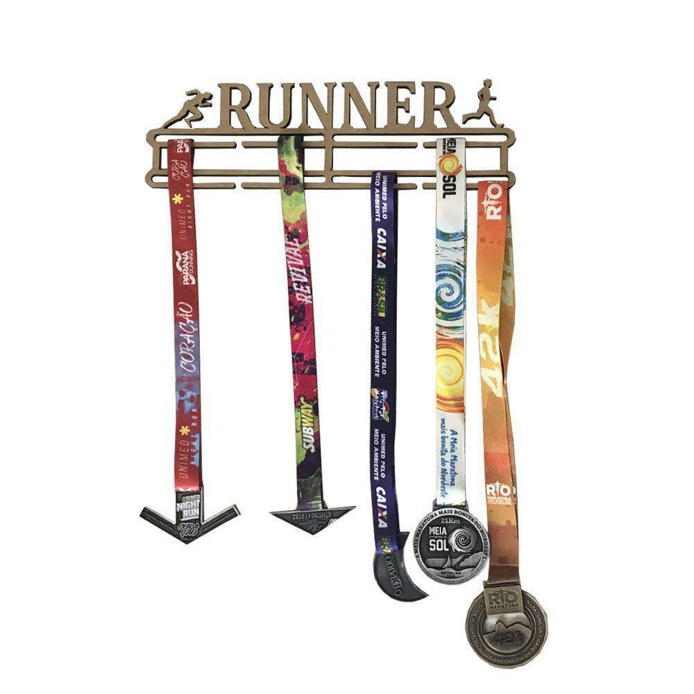 Quadro Decorativo Porta Medalhas MDF Cru 39x11 Runner Corrida - D'Rossi