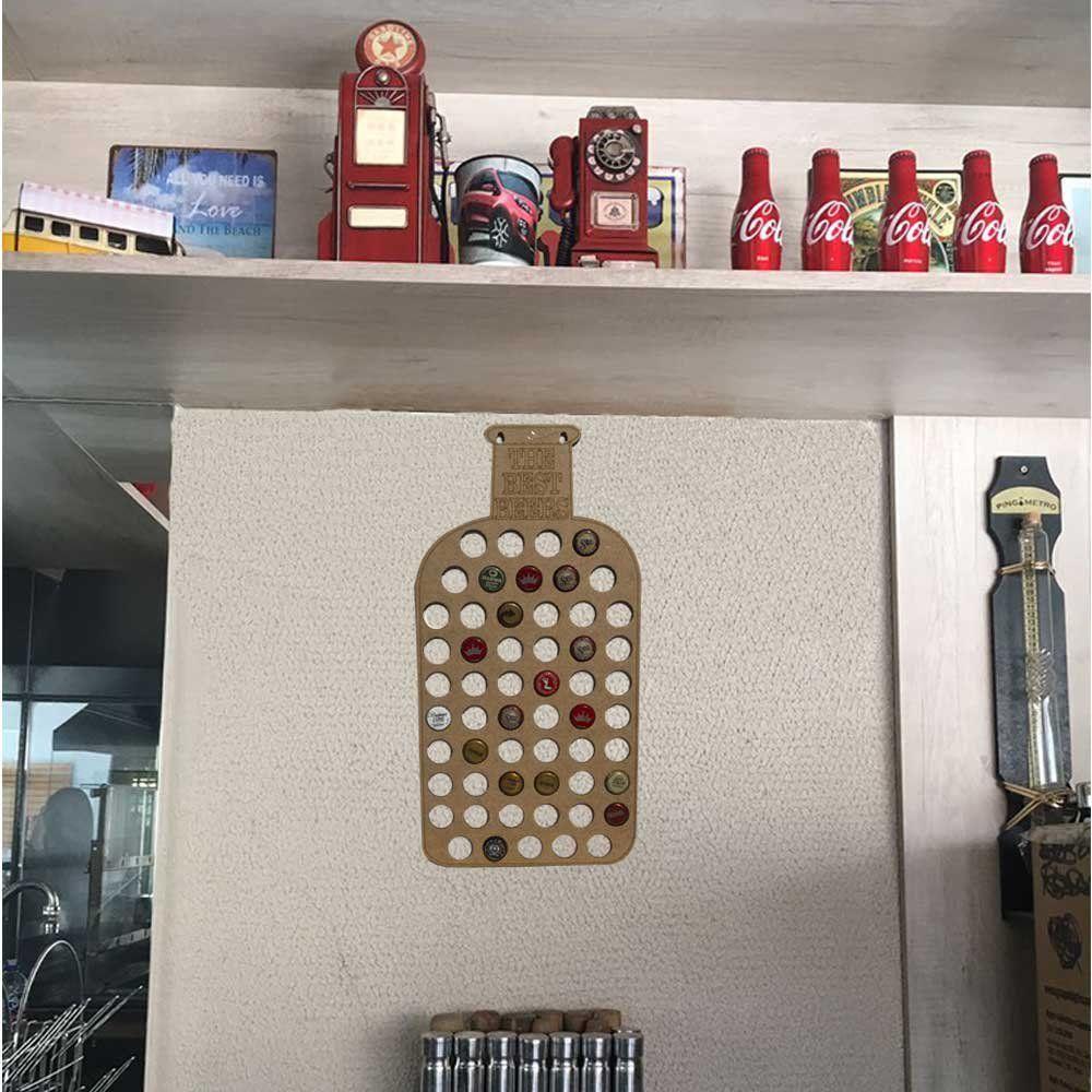 Quadro Decorativo Porta Tampinhas MDF Garrafa 25x50 - D'Rossi