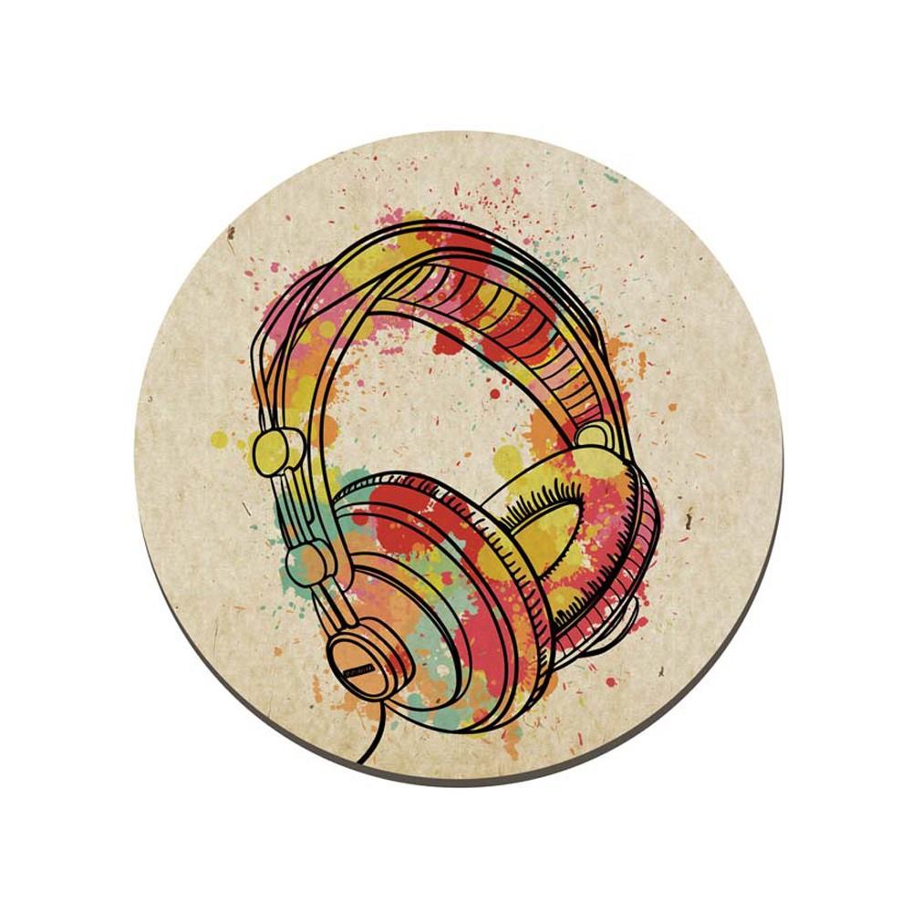 Quadro Placa Decorativa Redonda Fone de Ouvido D'Rossi