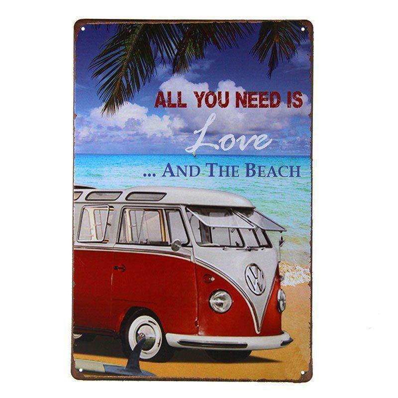 Quadro Placa Metal Decorativa Vintage Love and Beach 20x30