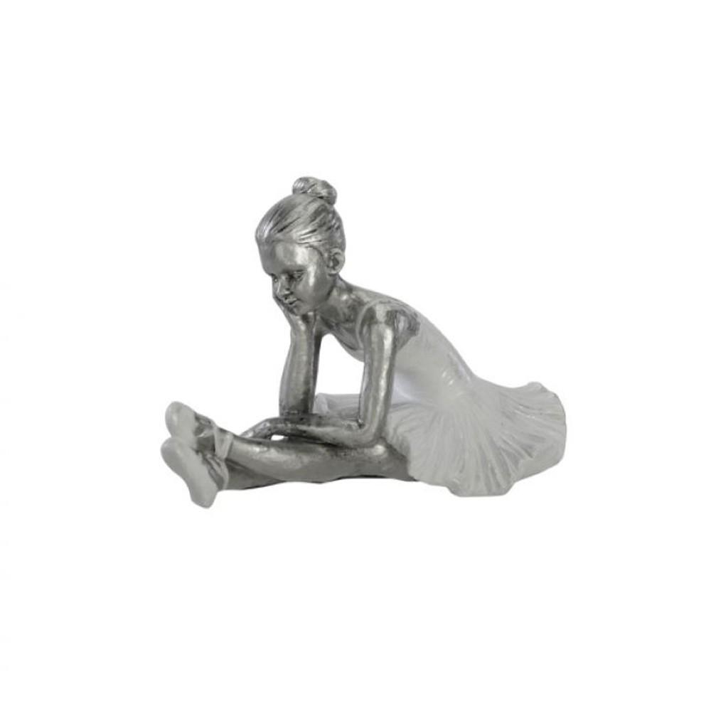 Bailarina Decorativa Prata 10x10x18 D'Rossi