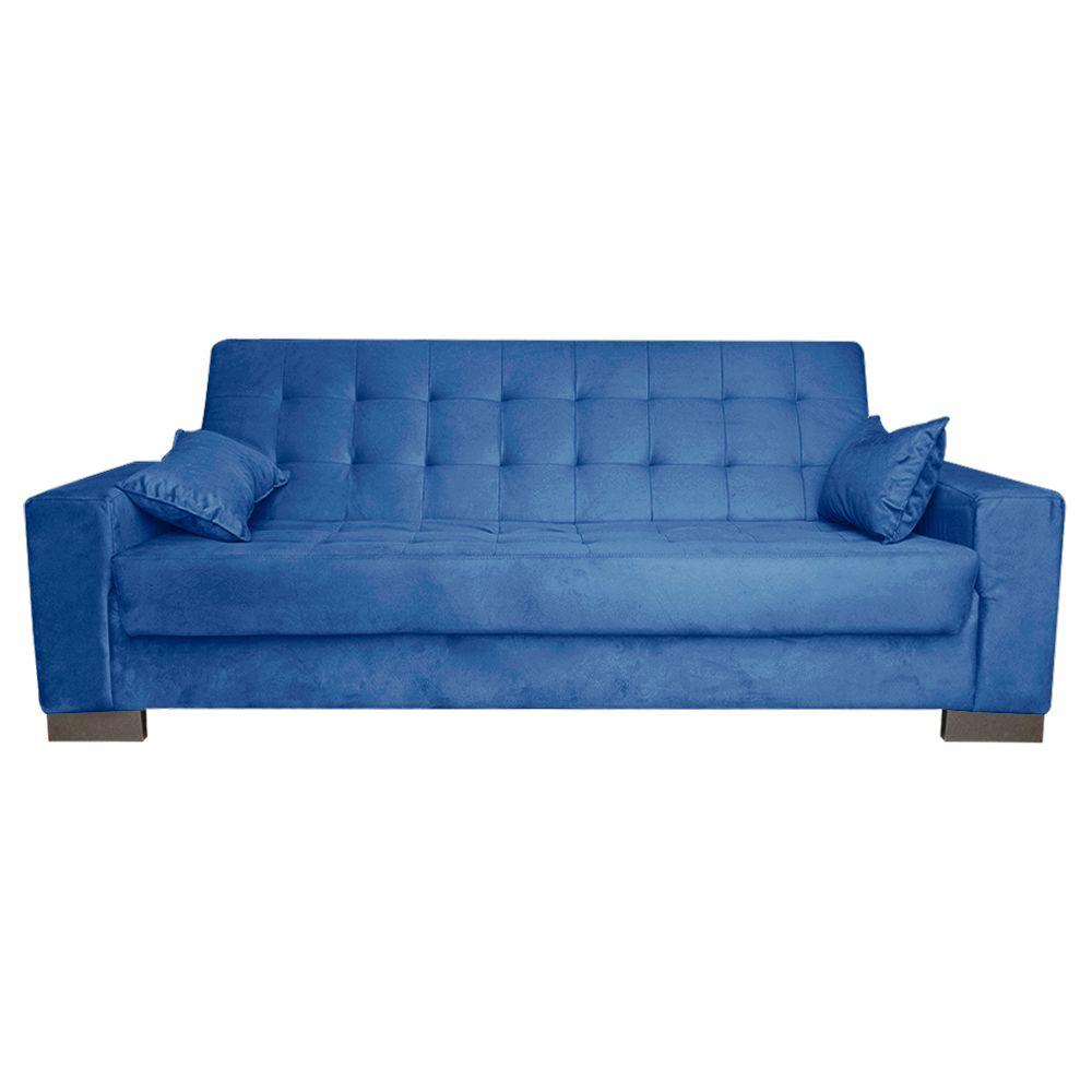 Sofá Cama 2 Lugares para Sala de Estar Lisboa Suede Azul Royal - D'Rossi