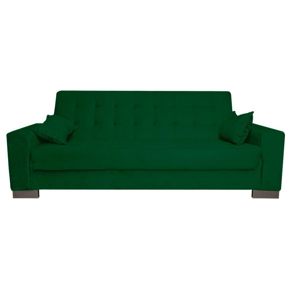 Sofá Cama 2 Lugares para Sala de Estar Lisboa Suede Verde - D'Rossi