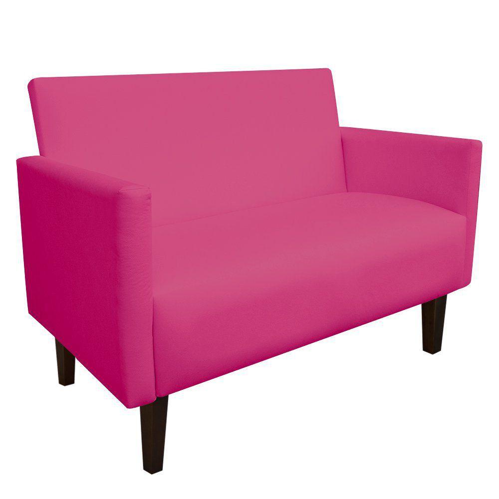 Namoradeira Jade 02 Lugares Corino Pink Pés Chanfrado Tabaco - D'Rossi