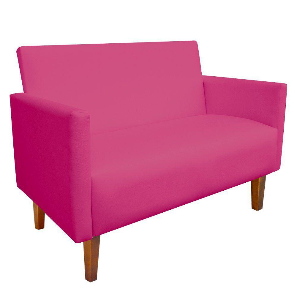 Namoradeira Jade 02 Lugares Corino Pink Pés Chanfrado Castanho - D'Rossi