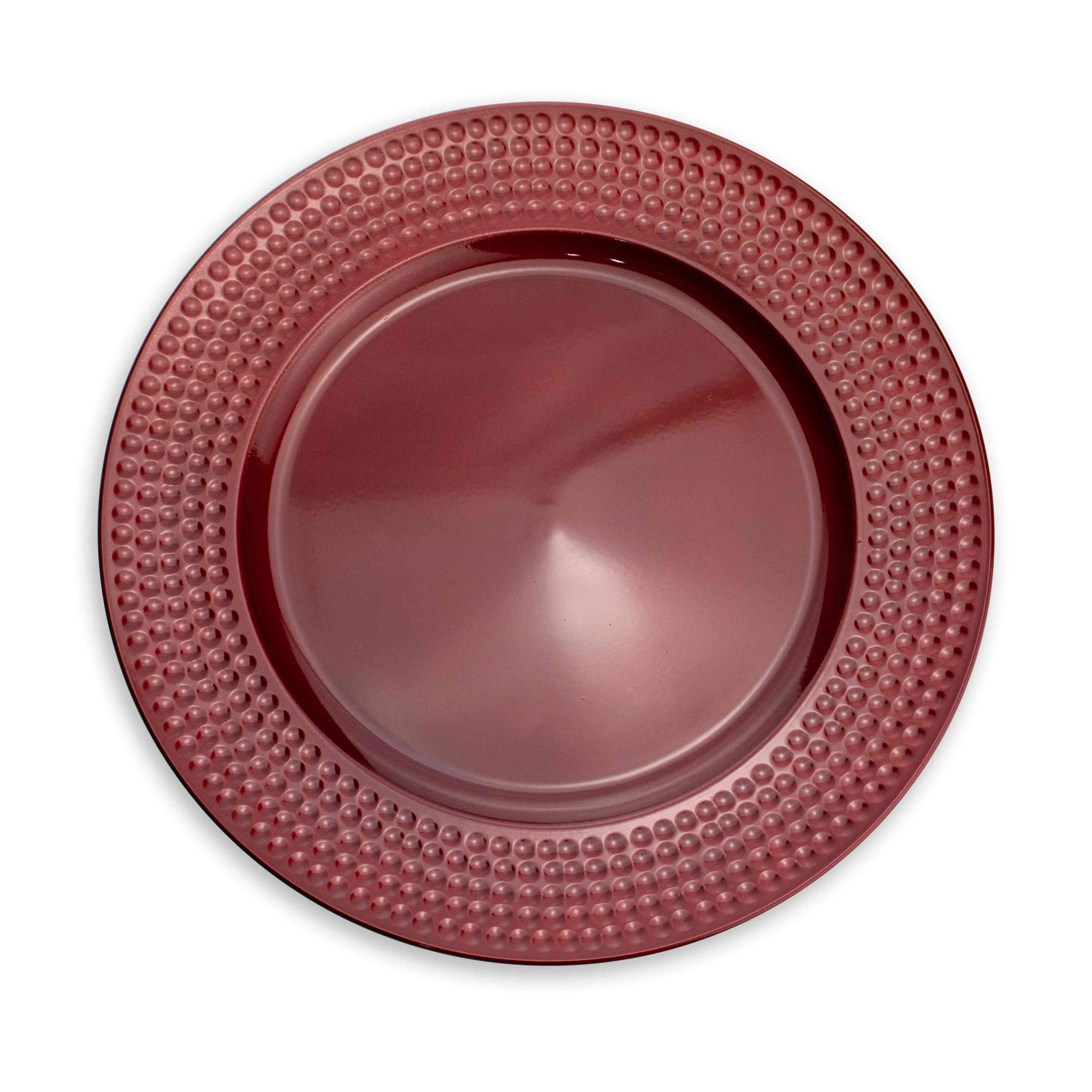 Sousplat de Plástico Vermelho com Relevo Lateral 33 cm - D'Rossi