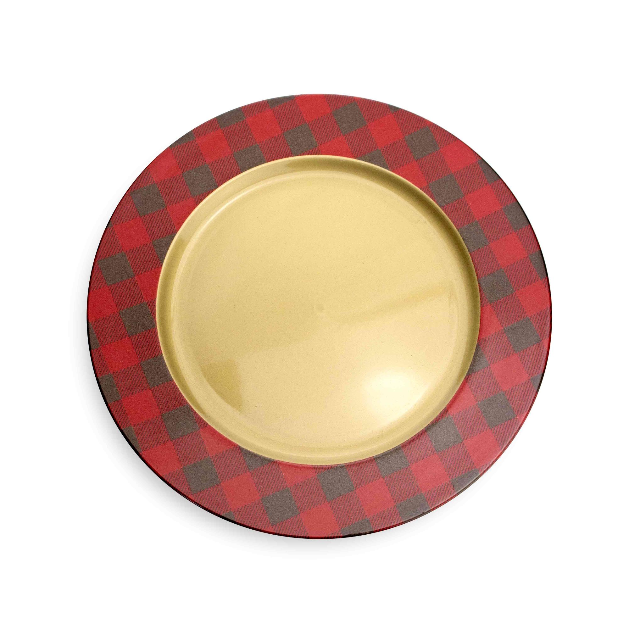 Sousplat de Plástico Xadrez Vermelho e Dourado 33 cm - D'Rossi