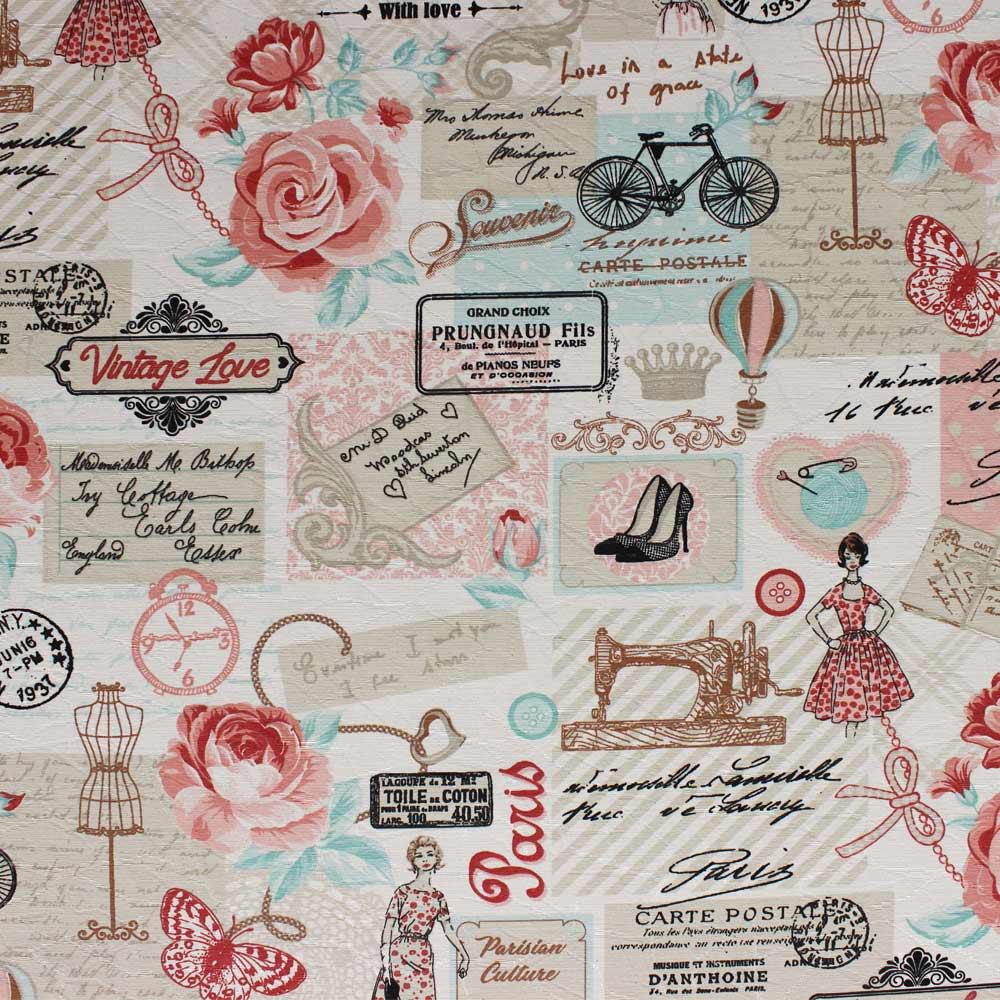 Tecido Decorativo Jacquard Estampado Retrô Rosa D61 03 Metros - D'Rossi
