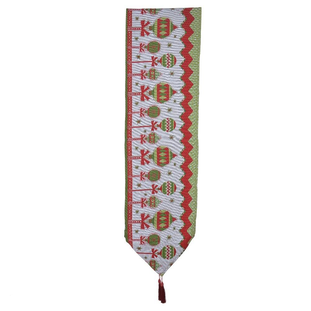 Caminho de Mesa Natalino Colorido Estampado Símbolos Natalinos 2,6 m X 33 cm - D'Rossi