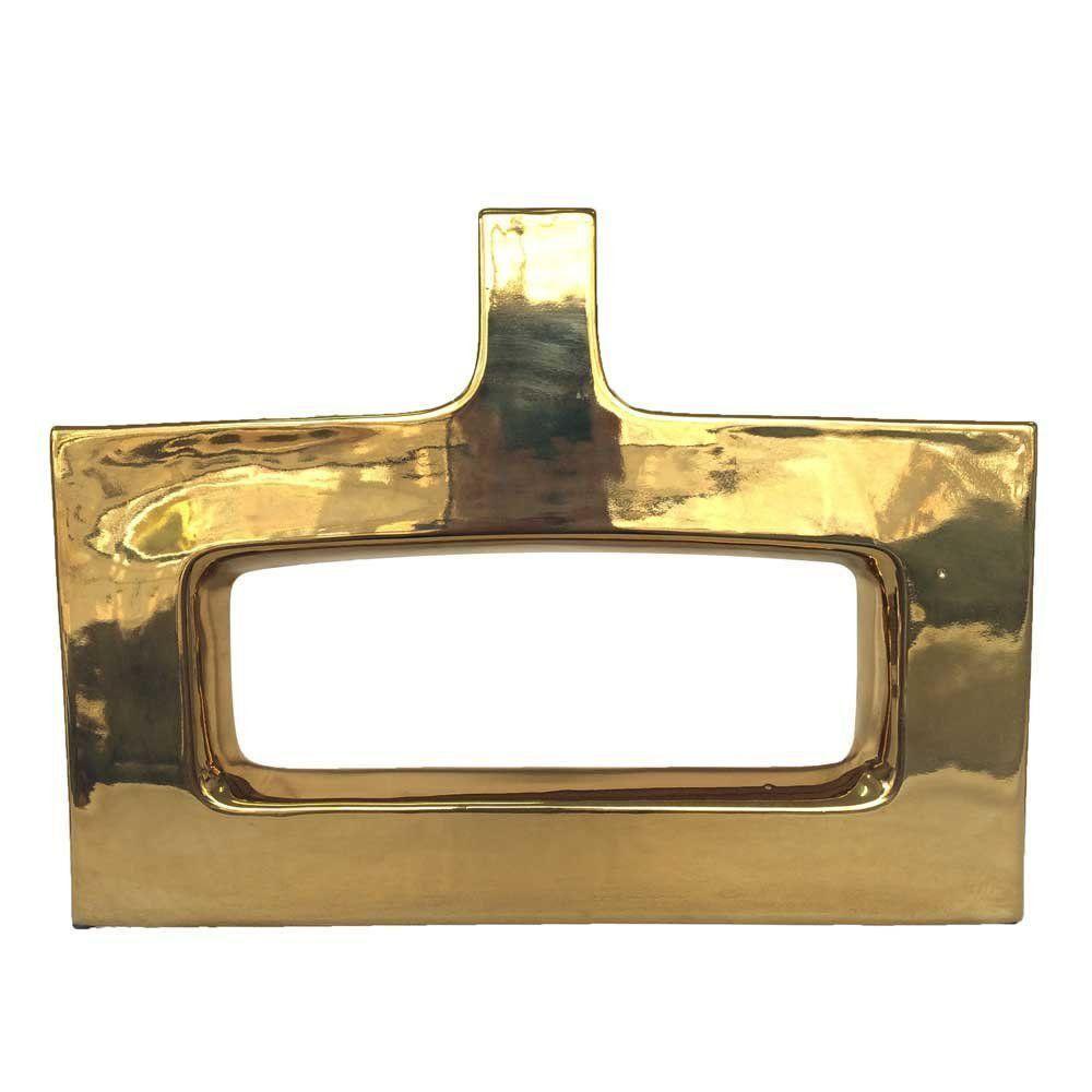 Vaso Decorativo Cerâmica Vazado 42 cm - Dourado/Espelhado