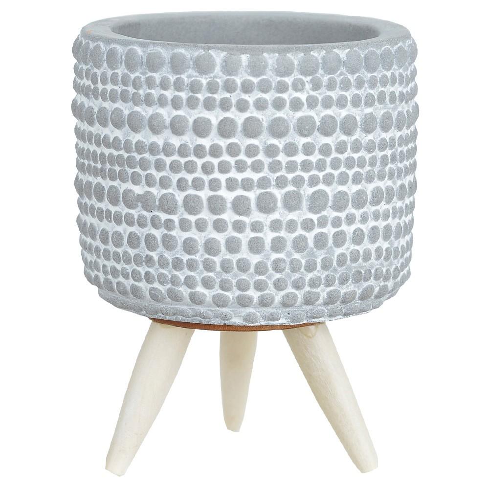 Vaso Decorativo Cinza em Cerâmica 7,8X10 cm