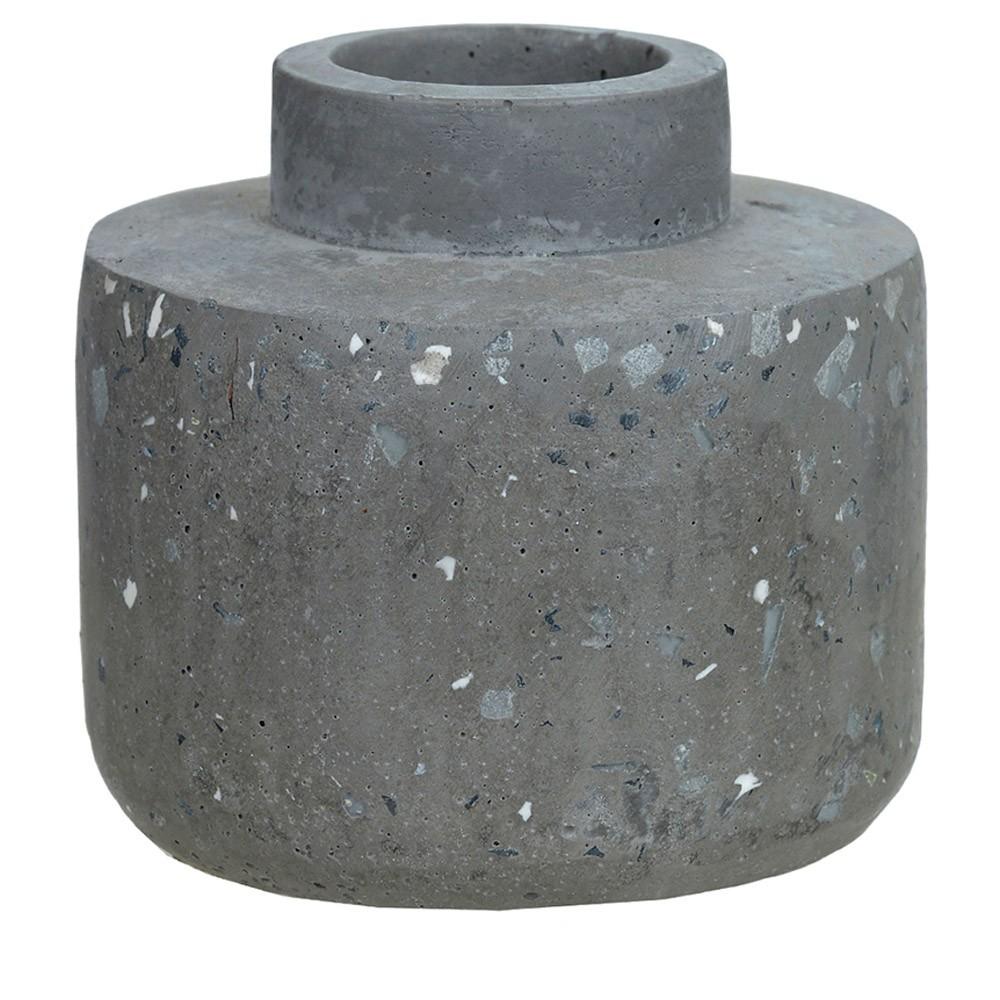 Vaso Decorativo Cinza em Cimento 10,5 cm