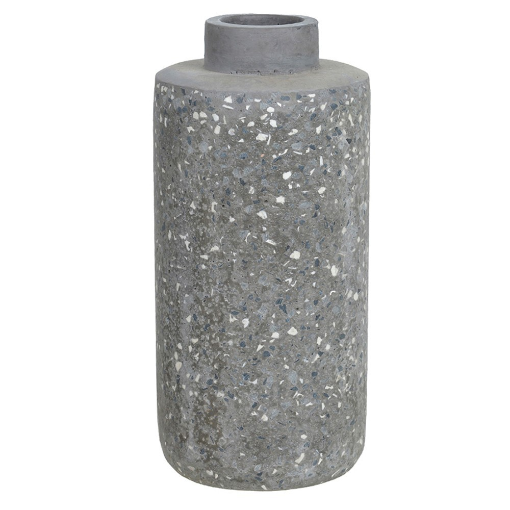 Vaso Decorativo Cinza em Cimento 27,5 cm D'Rossi