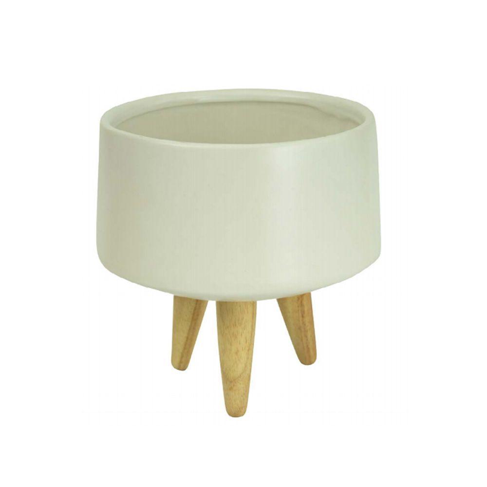 Vaso Decorativo em Cerâmica Branco Fosco 11,5X20,5cm - D'Rossi